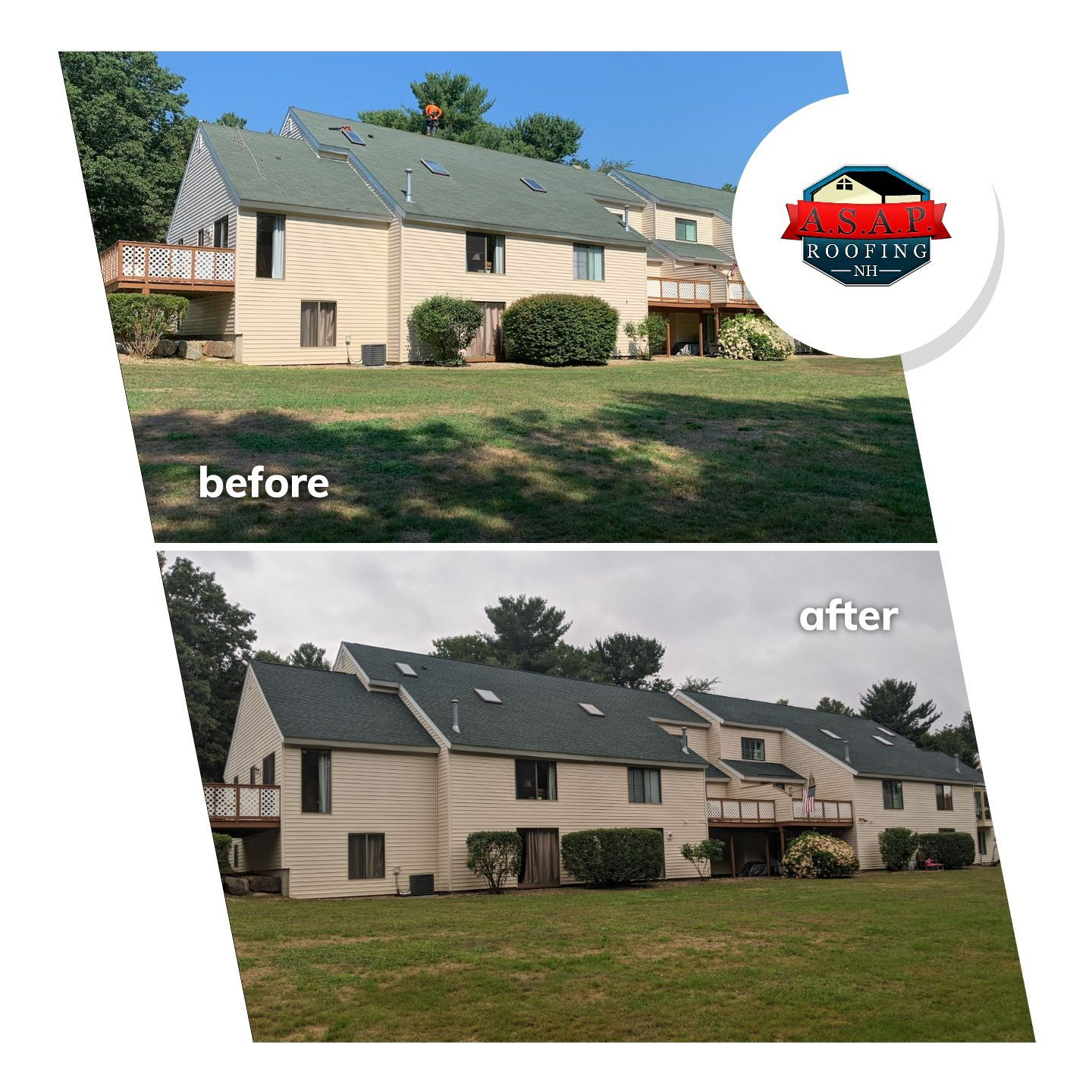 Commercial Roofing Condos at Bryant Woods in Atkinson NH by ASAP Roofing